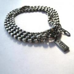 BALL CHAIN RAP BRACELET/ OVAL